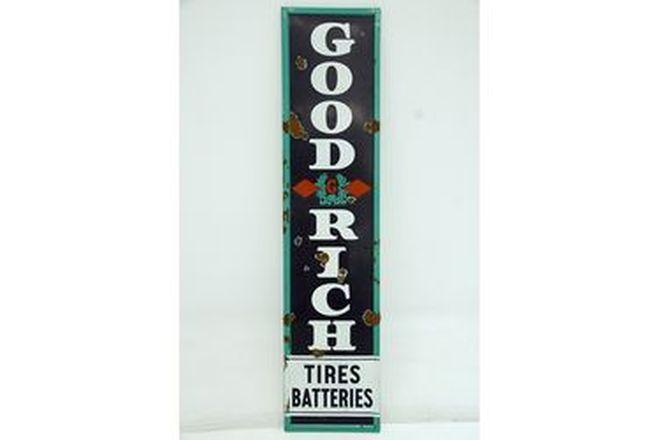 Enamel Sign - 1930's Goodrich Tires & Batteries Vertical Enamel Sign 6ft