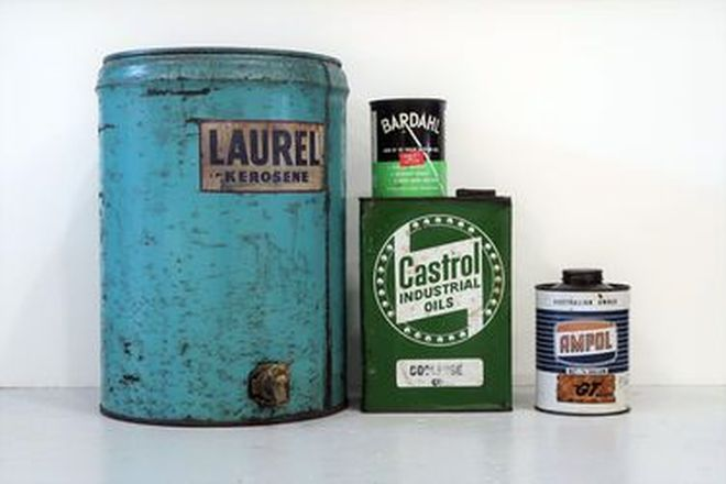Oil Cans - 4 x Assorted Small Oil Cans (Castrol, Ampol, Bardahl, Laurel Kerosene)