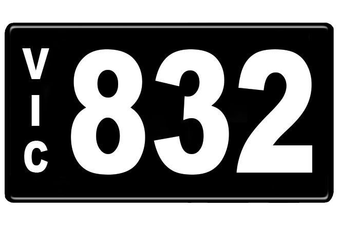 Number Plates - Victorian Numerical Number Plates '832'