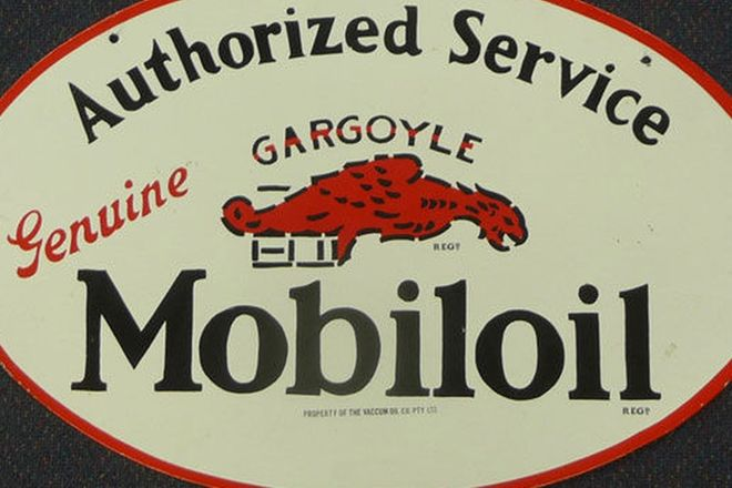 Enamel Sign - Double sided Mobilgas Service Oval - Reproduction (70cm x 46cm)
