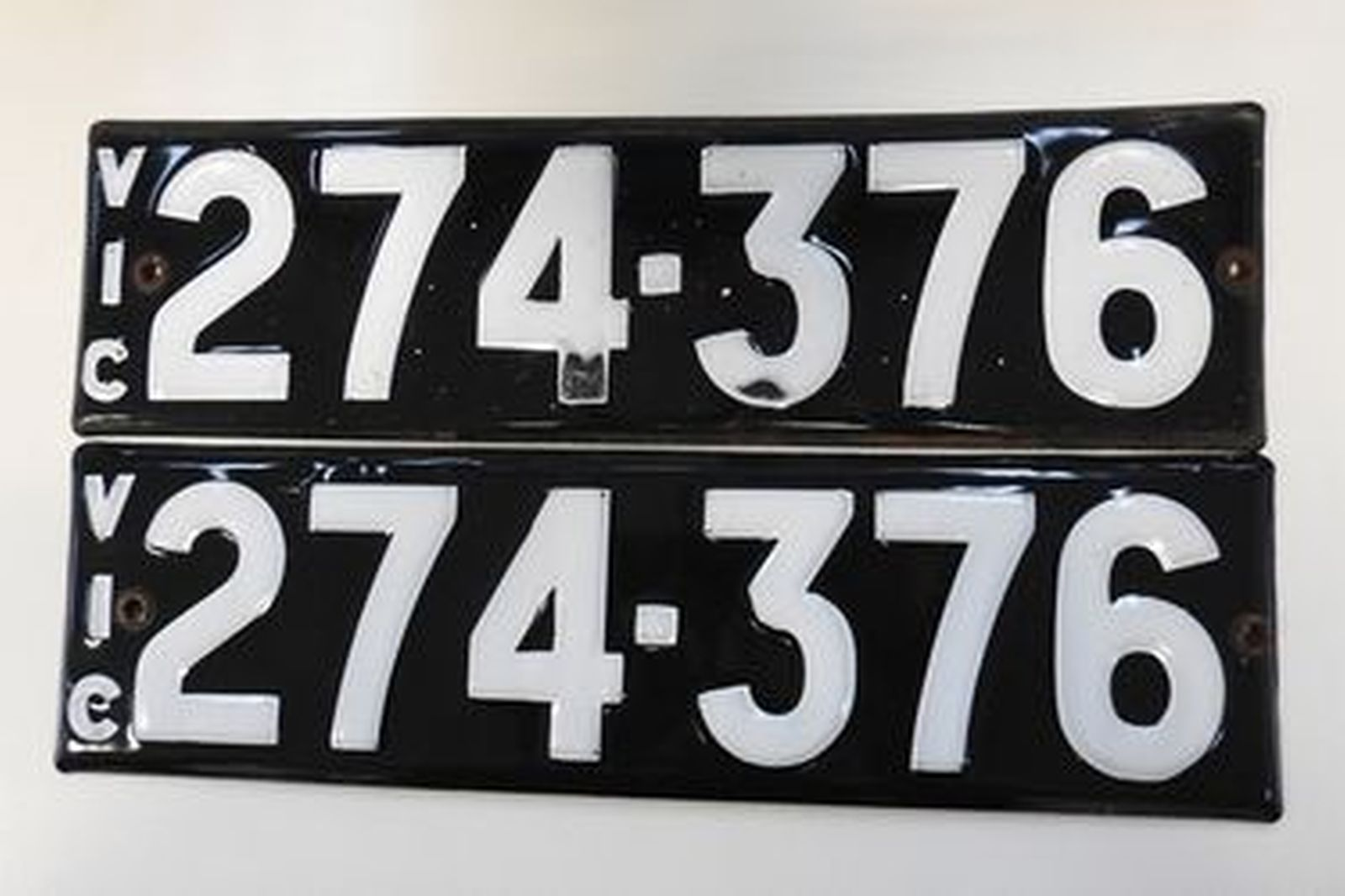 Number Plates - Victorian Numerical Number Plates - '274- 376'