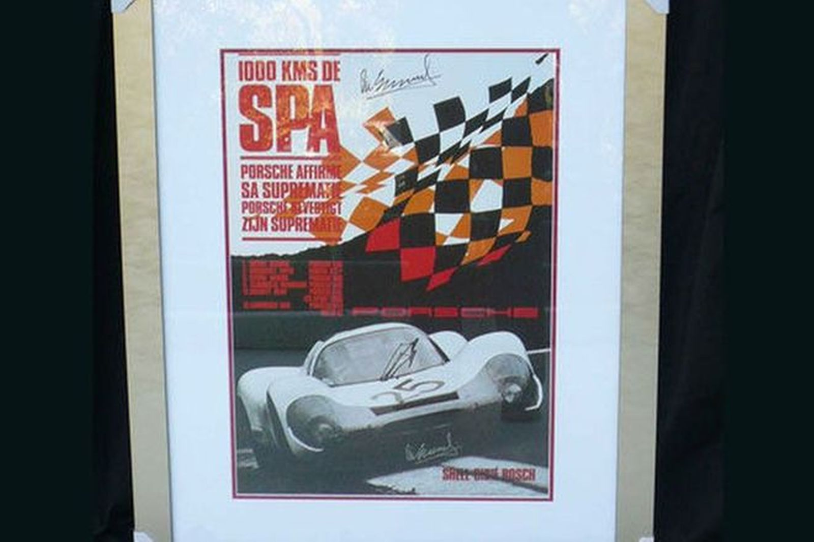Signed Framed Print -  Celebrating Porsches victory at SPA signed by Vic Elford (1m x 80cm)