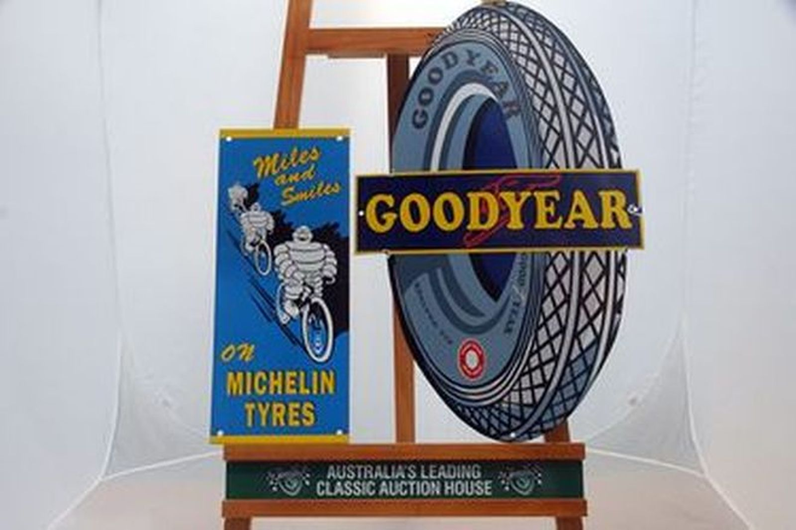 Enamel Signs x 2 - Goodyear Tyres & Michelin 'Miles & Smiles' Reproduction