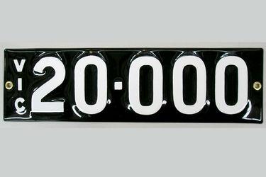 Victorian Vitreous Enamel Number Plates - '20.000'