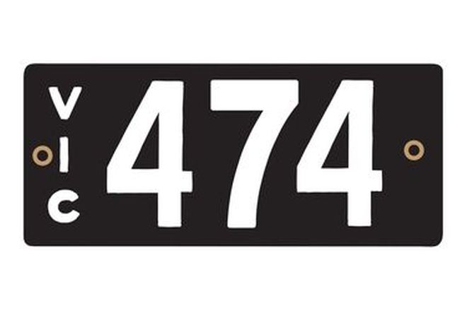 Victorian Heritage Numerical Number Plates '474'