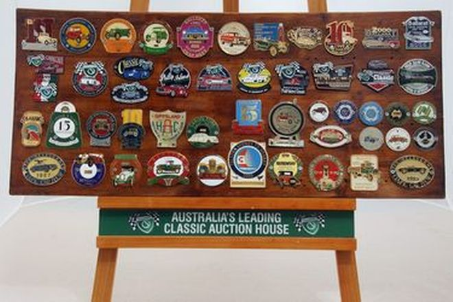 Badge Board - 50 x Assorted Australian Car Rally Badges Mounted on a Wooden Board