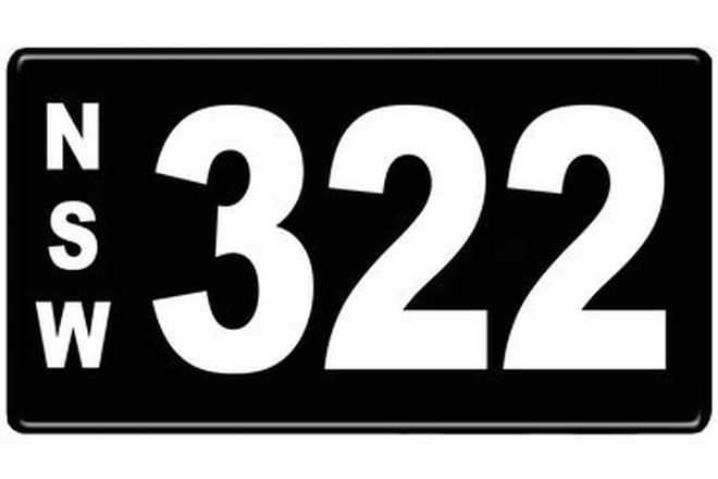 Number Plates - NSW Numerical Number Plates '322'