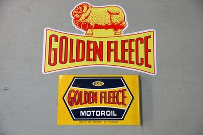 Enamel Signs x 2 - Golden Fleece & Golden Fleece Double Sided