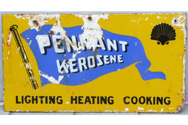 Enamel Sign - Double-Sided Pennant Kerosene Sign (60cm x 30cm)