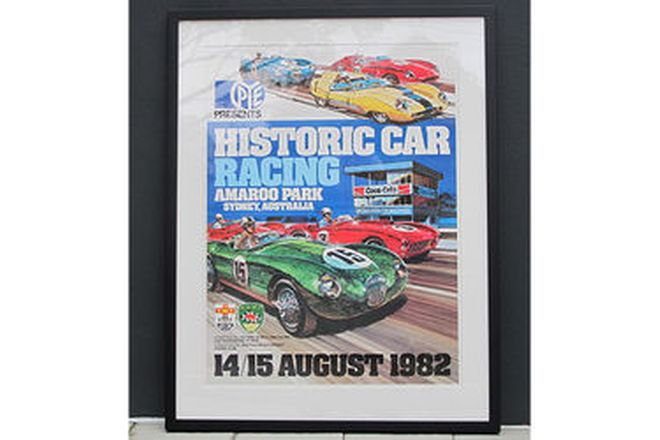 Framed Posters - 3 x Original Historic Motor Racing posters (1 signed)