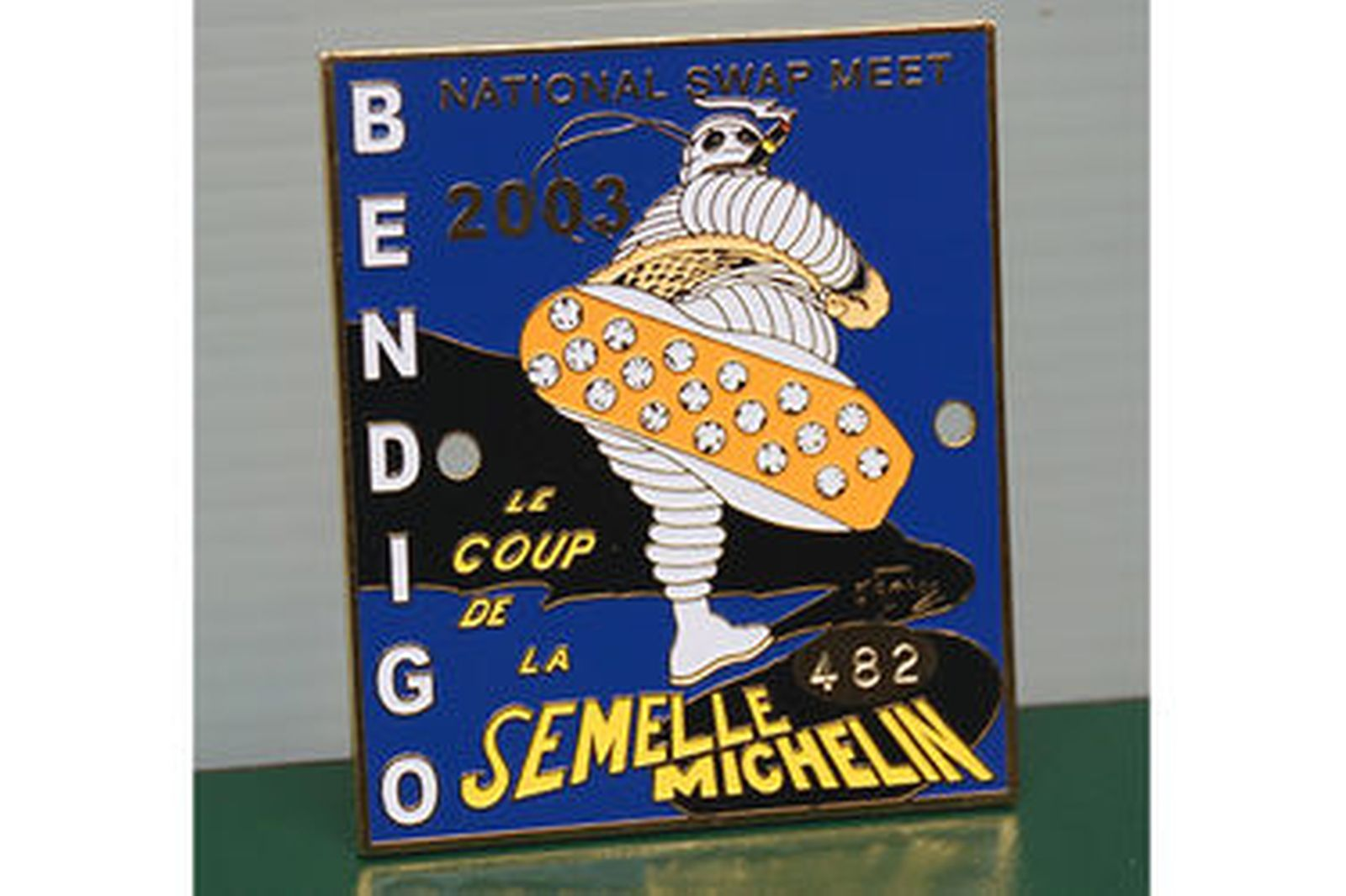Michelin Collection - Cristal Clock, Bibendum Limited Edition Figurine & Bendigo Swap Meet Badge