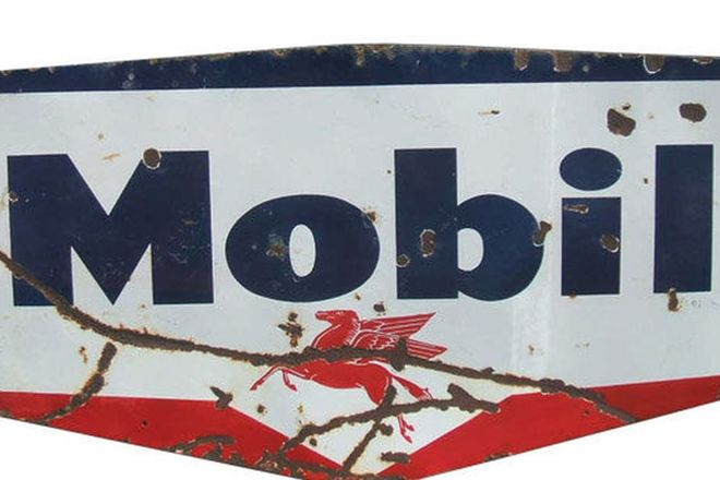 Enamel Sign - Mobil Die-cut Shield (183cm x 91cm)