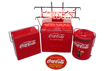 3 x Coca-Cola Eskys, 1 X Neon Light & Enamel Sign