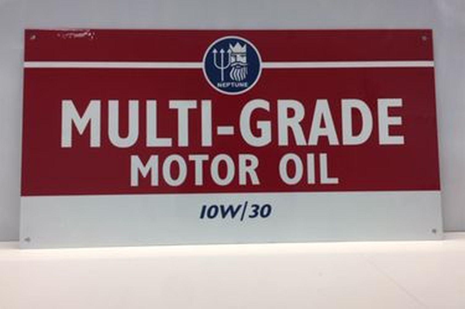 Enamel Sign -  Reproduction Multi-Grade Motor Oil Neptune IOW30 (61 x 32cm)