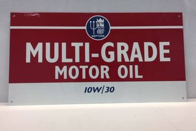 Enamel Sign -  Reproduction Multi-Grade Motor Oil Neptune IOW30 (61 x 32cm)