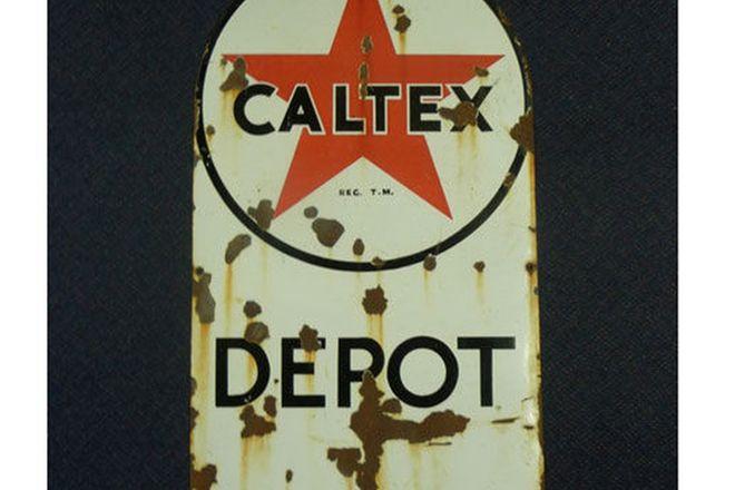 Enamel Sign - Caltex Depot  (107cm x 61cm)