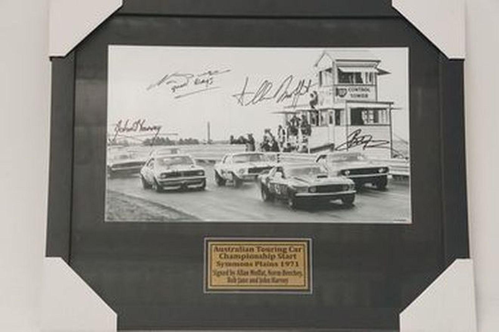 Framed Picture - Australian Touring Car Championship - Simmons Plains 1971 Signed