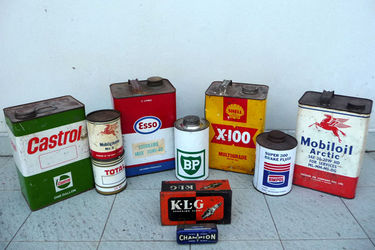 Tins - 10 x Assorted Oil, Grease & Spark Plug