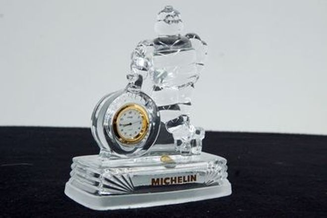 Clock - Michelin Crystal D'argues  (Size - 18cm Tall)