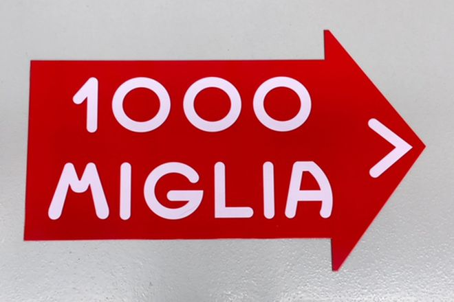 Mille Miglia Tin Road Sign one sided ( approx. 2 foot)