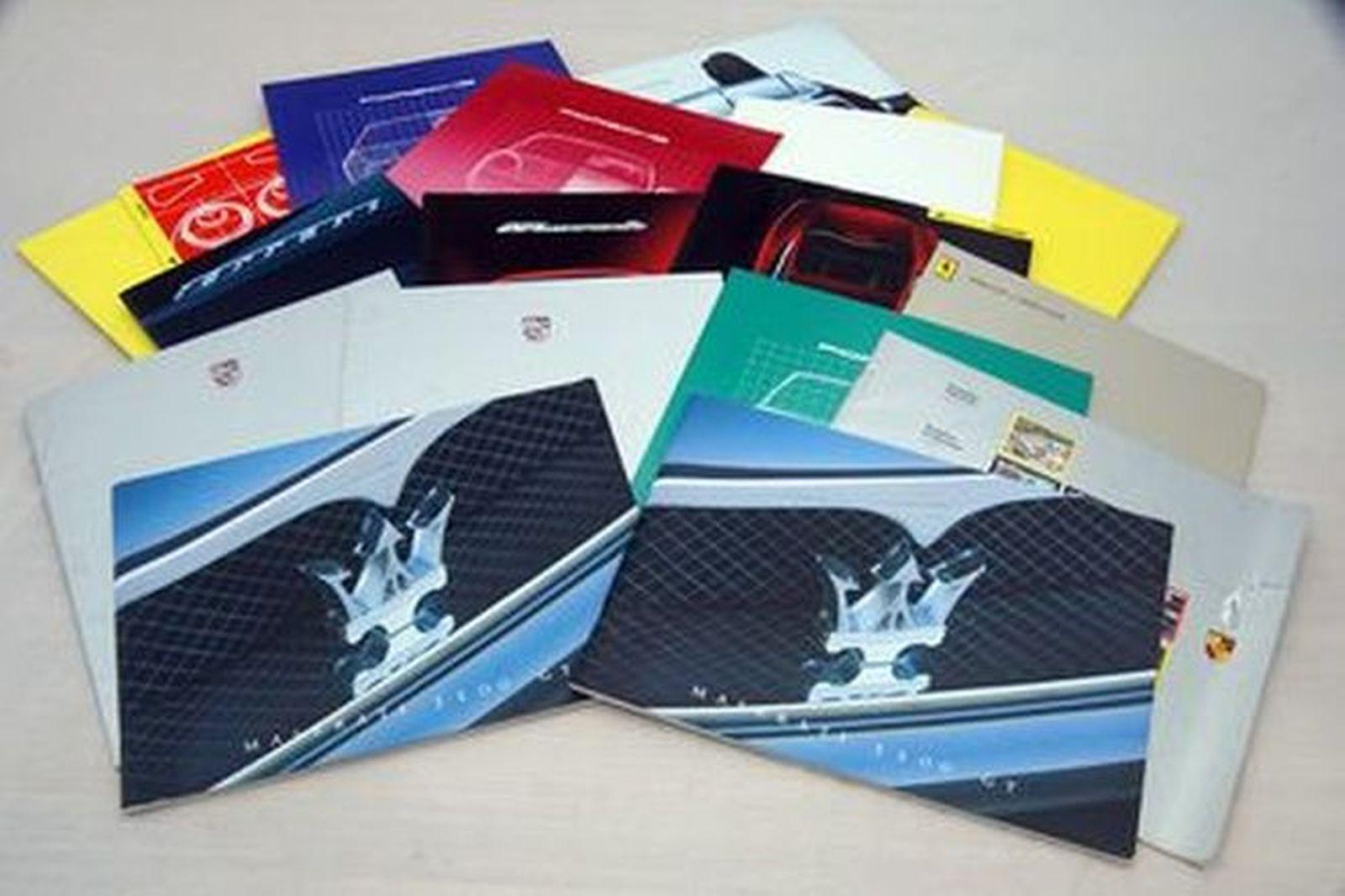 Advertising Brochures x 18 - Assorted Maserati , Porsche and Ferrari Brochures