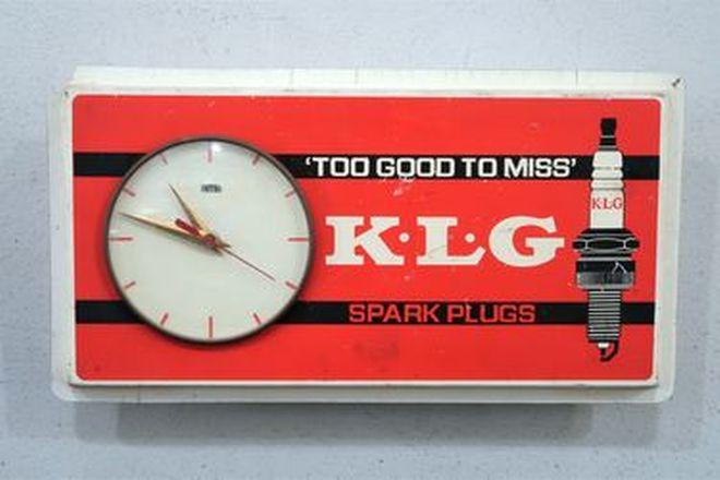 Clock - c1970s Vintage Workshop Smith's Wall Clock in KLG Spark Plug Livery (43cm x 24cm)