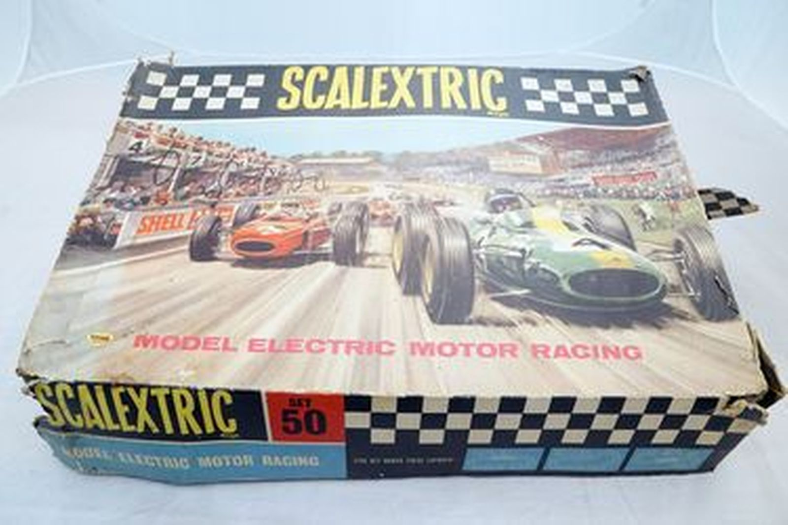 Scalextrics Set Vintage - Slot Car Set Scale 1:25 with Extra Track in Box