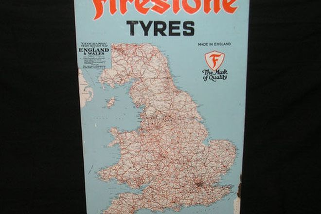 Enamel Sign - Firestone Tyres Featuring Map of England (4' x2'6