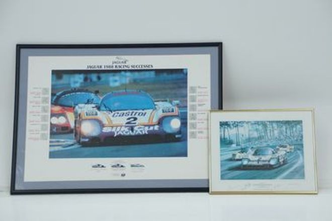 Framed Prints x 2 - Signed Le Mans 1988 & Jaguar 1988 Racing Successes