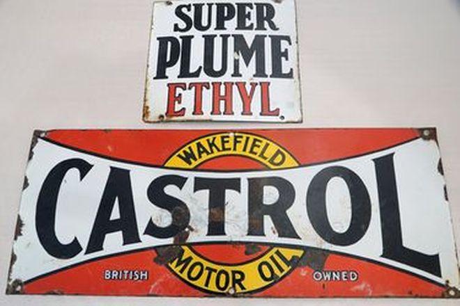 Enamel Signs x 2 - Super Plume Ethyl Single Sided & Castrol Wakefield Single Sided