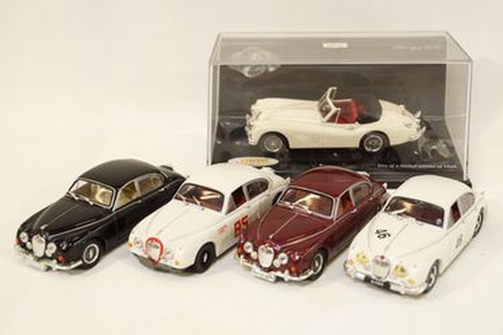 Model Cars x 5 - Jaguar 240/340, Mk2 #46, Mk2 V8 #85 & XK140 by Vitesse