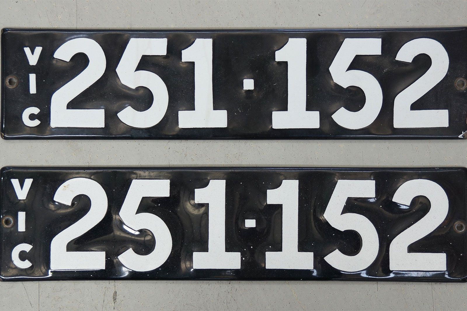 Number Plates - Victorian Numerical Number Plates '251-152'