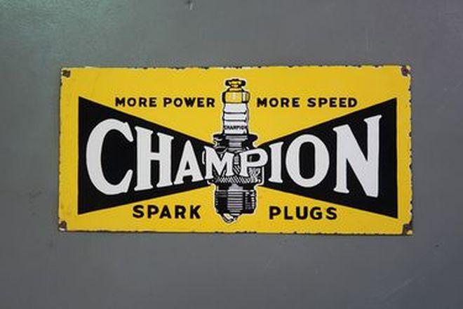 Enamel Sign - Champion Spark Plugs (77 x 36cm)