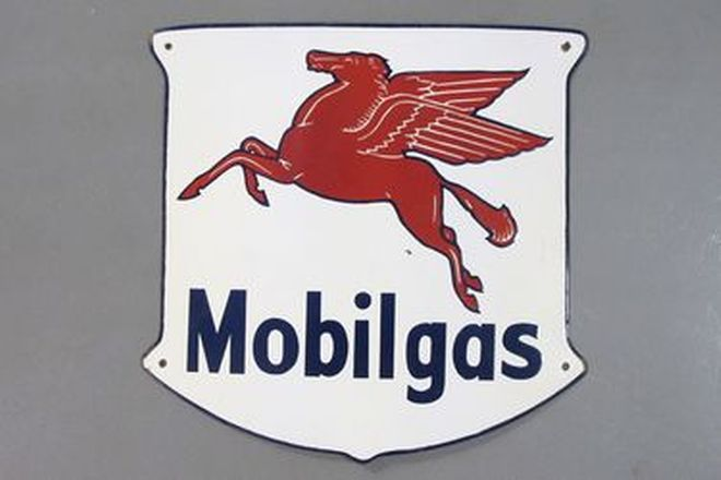 Enamel Sign - Mobilgas Shield Sign (54 x 57cm)