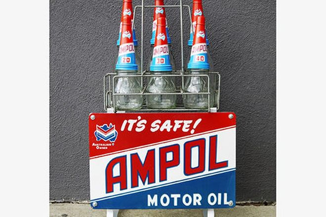 Oil Rack - Ampol with six bottles, reproduction sign and tops