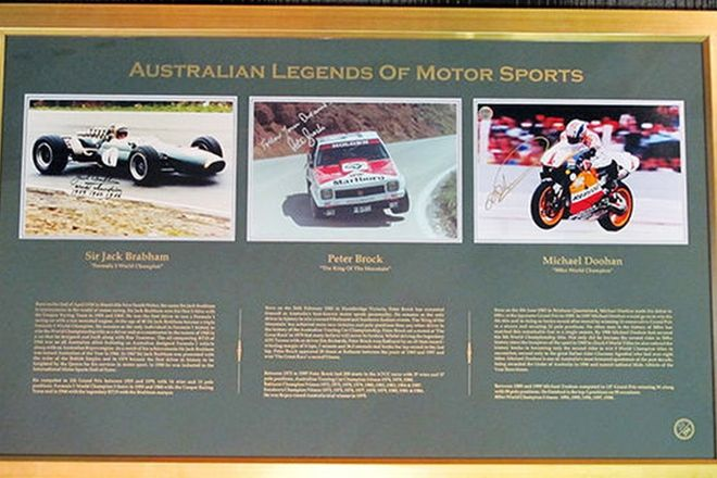 Framed Signed Photos - 'Australian Legends of Motorsport' Brabham, Brock and Doohan