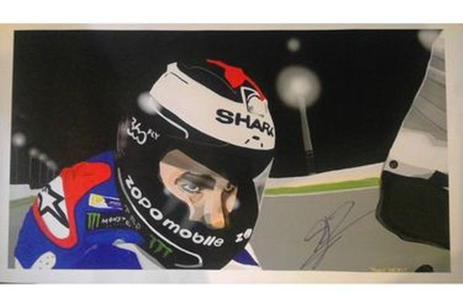 Painting of Jorge Lorenzo Signed - 29cm x 52cm approx