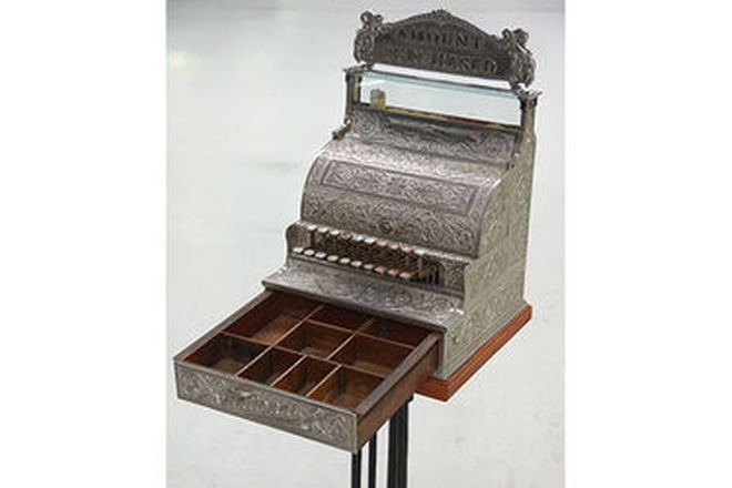 c1896 National Cash Register on Stand with Cast Iron base (cosmetically restored)