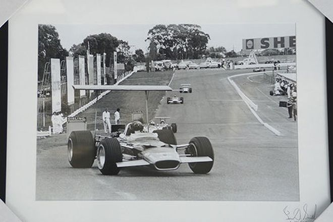 Framed Photo - Tasman Series 1968 Sandown Lotus F1 (65 x 51cm)