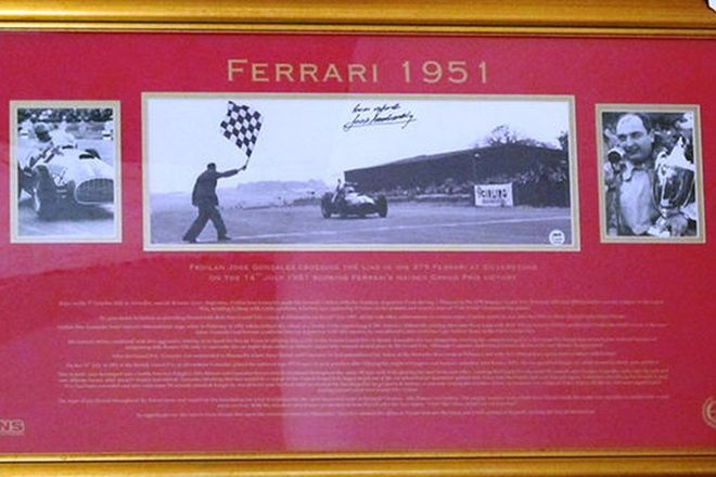 Framed Signed Photos of Ferrari's 1951 Maiden Grand Prix Victory Limited Edition 14/20