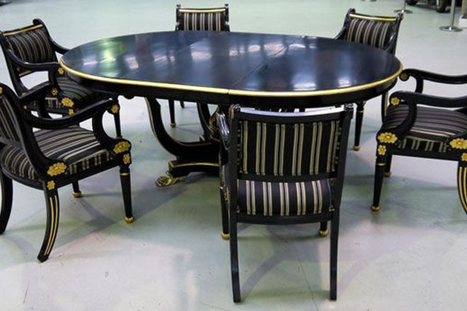 Dining Set - Empire Basket base Extension Table Ebonised