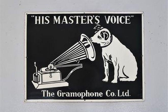 Enamel Sign - His Master's Voice - Reproduction (61 x 45cm)