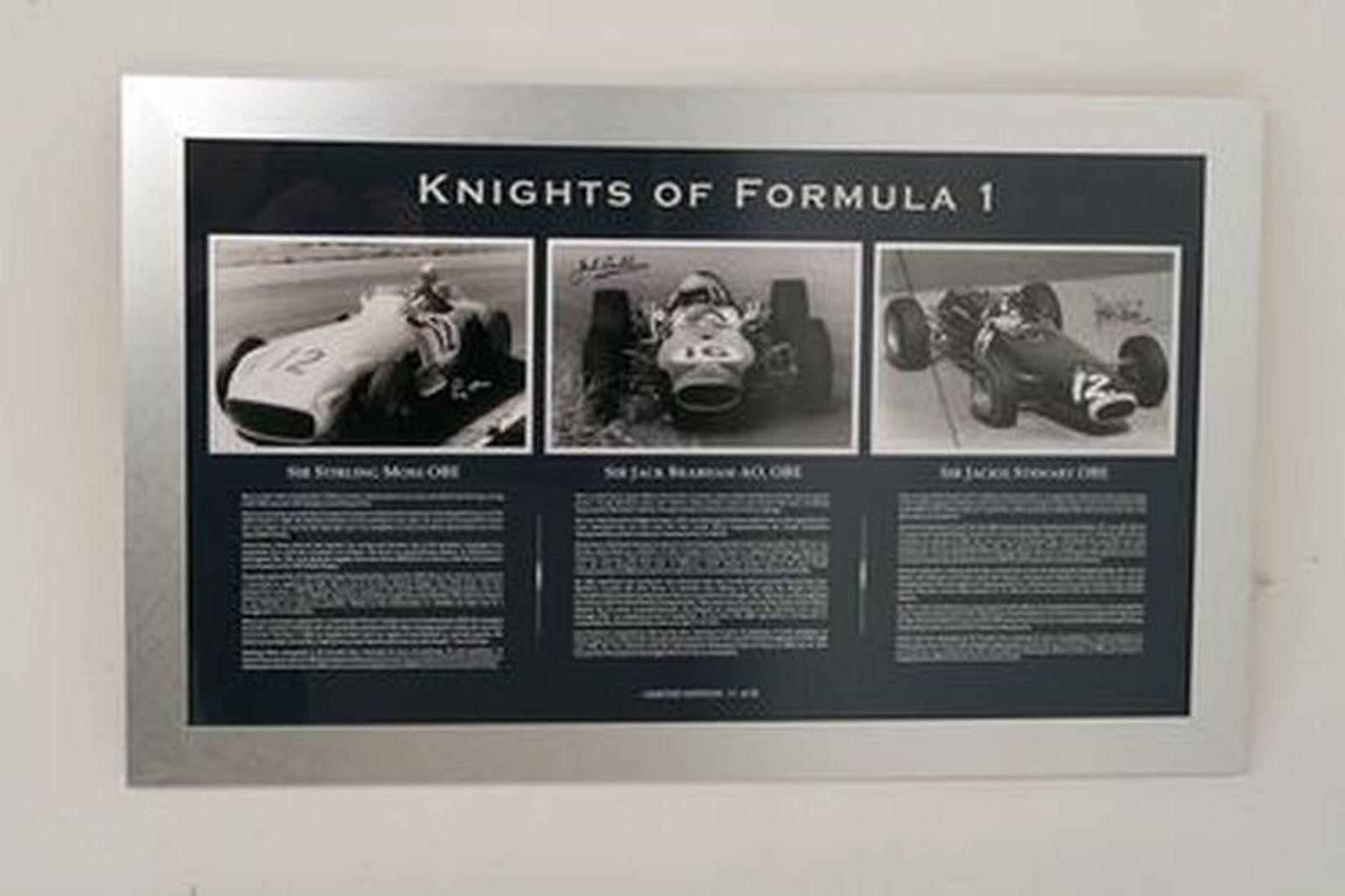 Framed Signed Photos - 'Knights of Formula 1' signed by Stirling Moss, Jack Brabham & Jackie Stewart