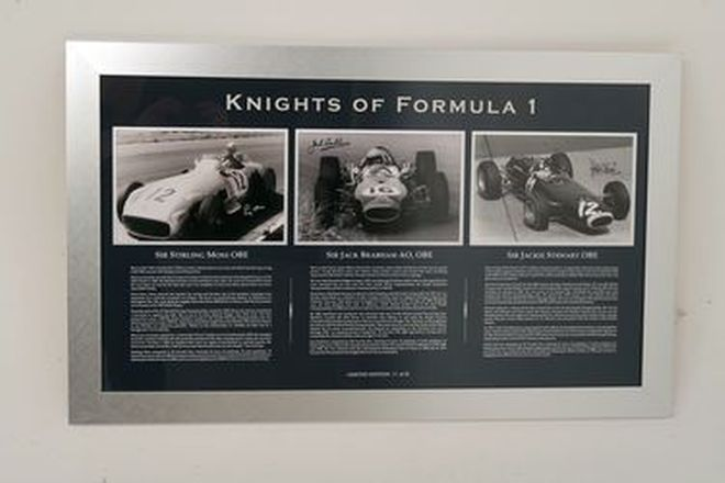 Framed Signed Photos - 'Knights of Formula 1' signed by Stirling Moss, Jack Brabham & Jackie Stewart