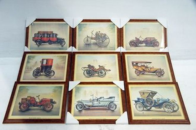 Framed Prints - 9 x Assorted Vintage Car Prints (41 x 33cm)