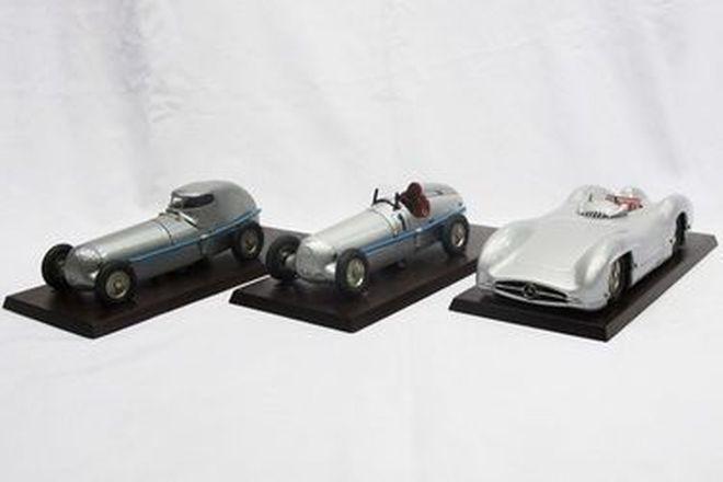 Model Cars - 3 x Marklin Clockwork Tin-Plate Mercedes 'Silver Arrow' Racers