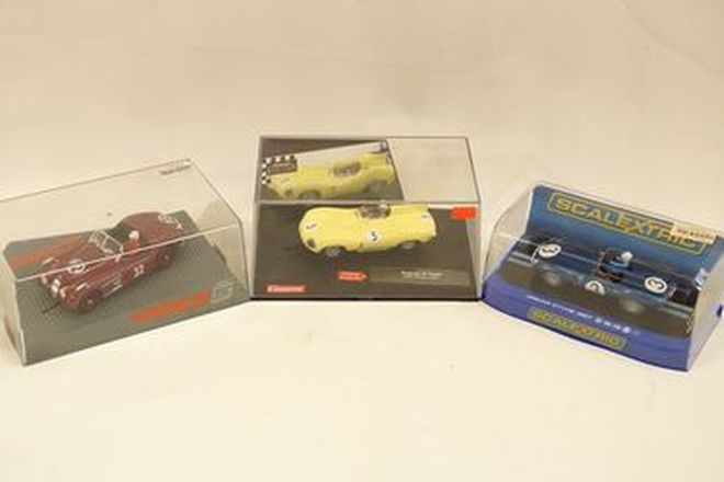 Slot Cars x3 - Scalextric Jaguar D-Type 1957, Jaguar D-Type Mille Miglia 2001 & Ninco Jaguar XK120