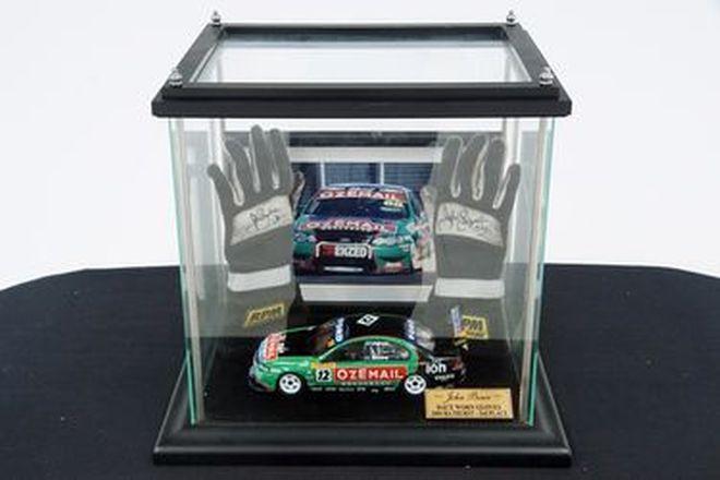 Framed Model Car & Gloves  - John Bowe Ozemail Signed in display case