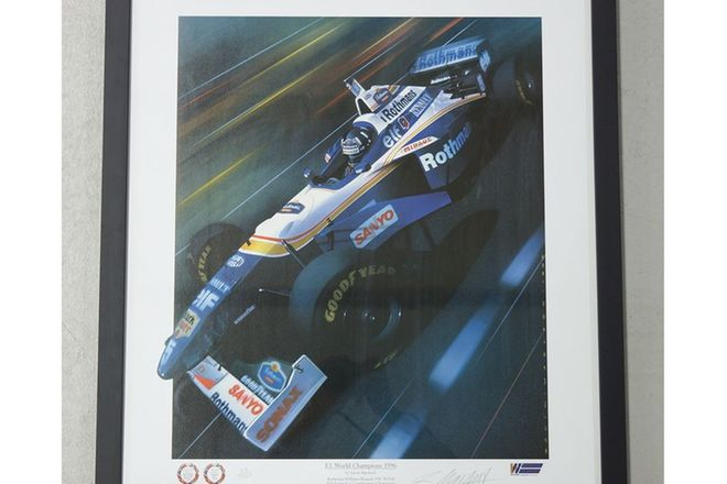 Signed Print - 1996 F1 World Champion - Damon Hill in Rothmans Renault (No. 33/1000)