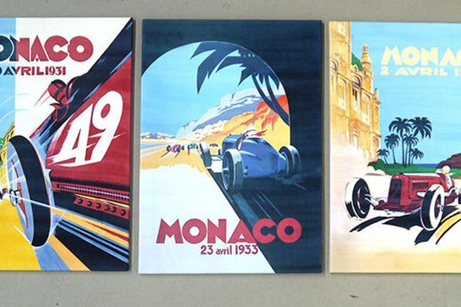 Prints - 3 x Monaco Prints on Canvas 1931, 32 & 34
